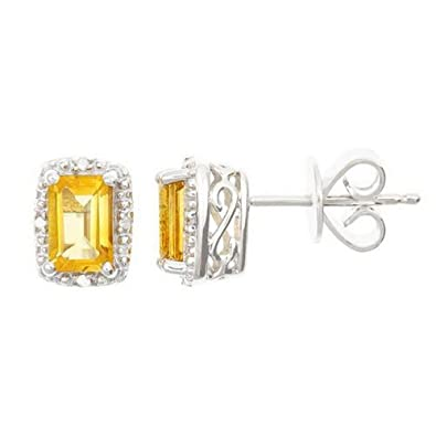 e7c84fff5 Image Unavailable. Image not available for. Color: 925 Sterling Silver Emerald  Cut Citrine & Diamond Halo Stud Earrings ...