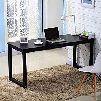 Home Office Desk, 55in Writing Desks Large Study Computer Table  Workstation,Black Wooden Top