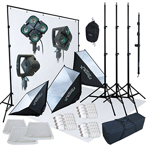 Linco Lincostore 2400 Watt Photo Studio Lighting 10x20ft White Backdrop Photography Background Stand Light Kit AM144-W by Linco (Image #1)
