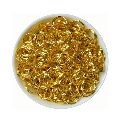 iZasky Open Jump Double Rings 200Pcs 4mm 5mm 6mm 8mm 10mm Stainless Steel Copper Single Loop & Split Rings for Jewelry Making Accessory and Necklace Bracelet Chain Earring (Gold, 10mm)