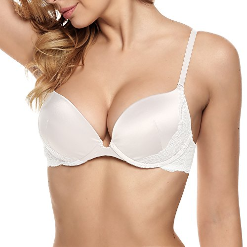 luxilooks Womens Plus Size Lace Trim Underwire Full Coverage DDD Bra, White/36A ()