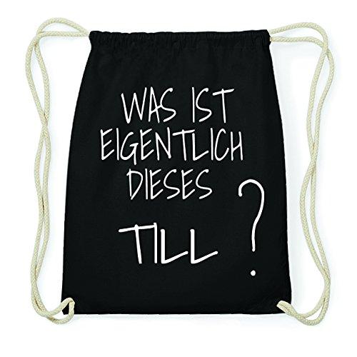 JOllify TILL Hipster Turnbeutel Tasche Rucksack aus Baumwolle - Farbe: schwarz Design: Was ist eigentlich
