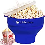 Delizioso Microwave Popcorn Popper / Big Popcorn Maker, Silicon Collapsible Bowl 7.8 X 4.3 X 5.7 Inches, BPA and PVC Free + 2 Gifts (Blue)