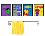 Silly Goose Gifts Even Superheros Brush Teeth Take A Bath Wash Hands Bathroom Wall Art Decor (Set of Four)