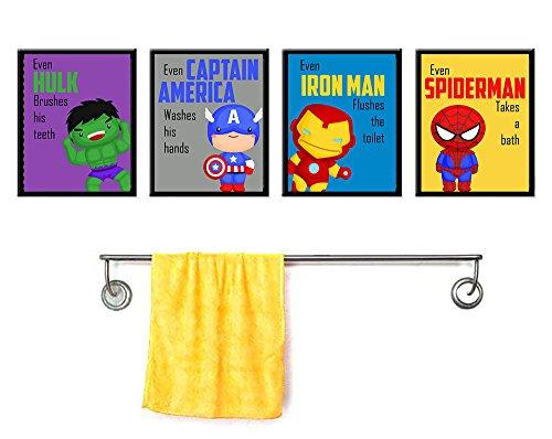 Silly Goose Gifts Even Superheros Brush Teeth Take A Bath Wash Hands Bathroom Wall Art Decor (Set of Four)