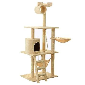 Hongge ÁRbol para Gatos, Cozy Pet Deluxe Multi Level Rascador para Gatos Postes De Rascado Cubiertos De Sisal Cuerda Y Hamaca 158x64x48 cm: Amazon.es: Hogar