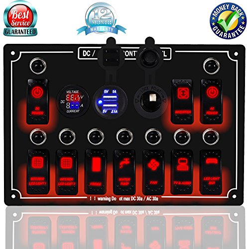 DCFlat 4/6/8/10 Gang Circuit LED Car Marine Waterproof 5 Pin Boat Rocker Switch Panel with Fuse Dual USB Slot LED Light + Power Socket Breaker Voltmeter for RV Car Boat (10 Gang Overload Protection-)