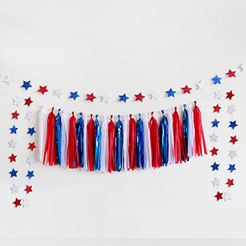 3 Red White and Blue Stars Garlands with one Tissue Tassel Streamer Garland for 4th of July Party Decor Labor Day Decor Patriotic Party Decorations Independence Day Party Supplies USA -