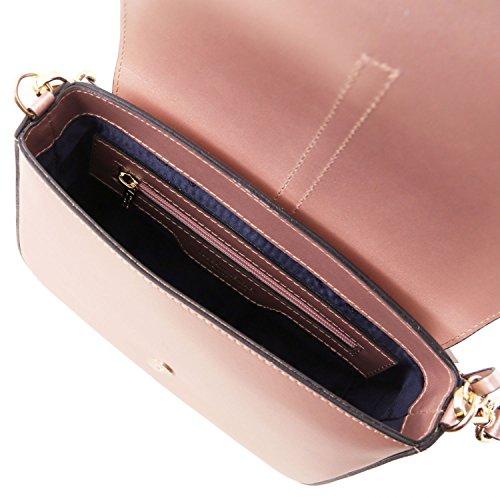tracolla metallic in Ruga a Borsa Celeste Leather Tuscany TL141642 pelle Rosa Nausica w6q1fpxI