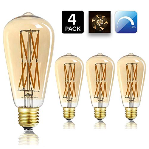 (Leools 12W Dimmable Vintage Edison LED Light Bulb,100W Equivalent,ST64 Filament Bulbs, 2500K Warm White(Amber Gold Glass), Antique Shape, Squarrel Cage Filament Vintage Light Bulb, 4-Pack.)