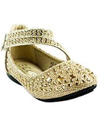 Lucita Shoes Baby Girl's KD-01KS Mary Jane Flats with Velcro Closure and Rhinestones