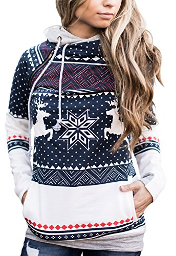 Fanshou Women Cute Christmas Hoodie Side Zipper Double Hooded Sweatshirt Pullover M (Long Hooded Hoodie compare prices)