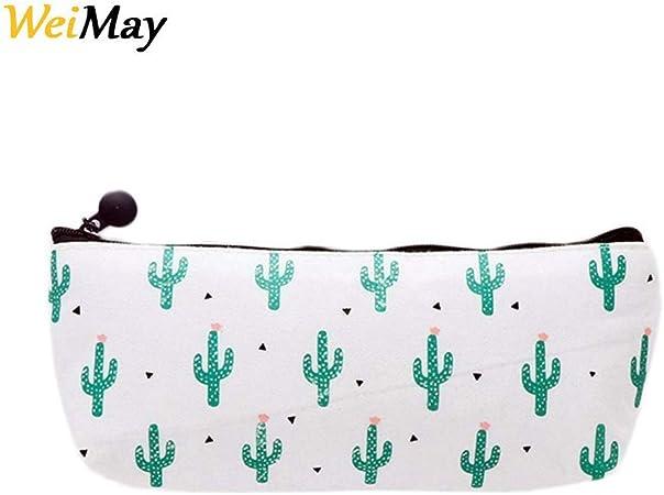 Estuche de lona con cremallera de WeiMay, diseño de cactus, ideal para guardar lápices y utensilios de papelería o para cosméticos, para niños y niñas: Amazon.es: Hogar