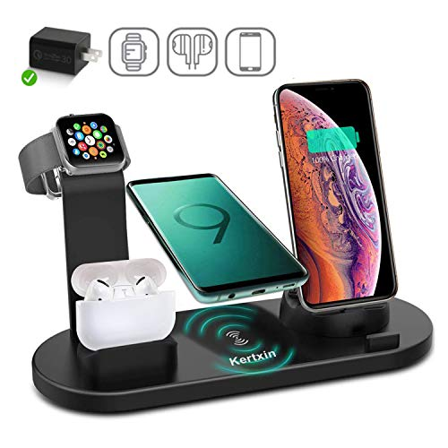 Kertxin Wireless Charger Stand,4 in 1 Wireless Charging Station Dock with USB for Apple Watch iWatch 5 4 3 2 1, Airpods,iPhone 11 11 Pro X Xs XR Max 8 Plus 8,Samsung Galaxy S9 S8