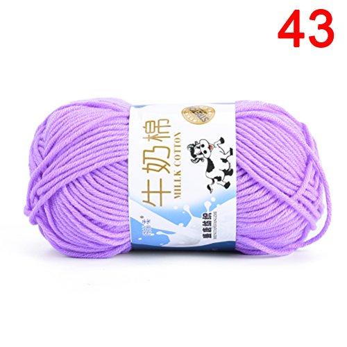 TUANTUAN 1 Lot Multicolor Milk Cotton Yarn Cotton Chunky Hand-woven Crochet Knitting Wool Yarn Warm & Soft Yarn for Sweaters Hats Scarves DIY,Light Purple