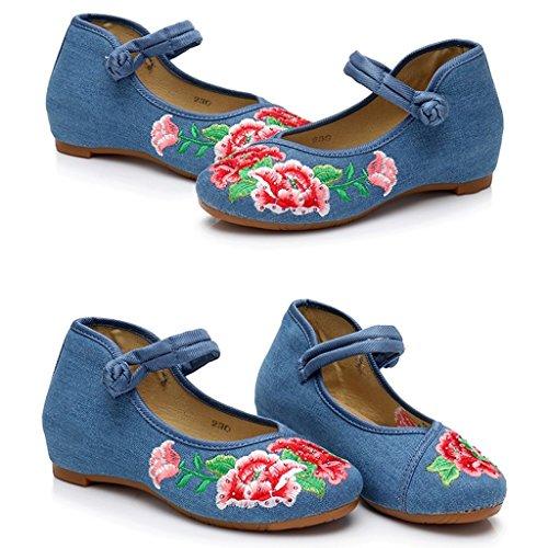 mujeres o vendimia Beige las informales Color Tama del Ballet 36 y de estilo calzados Ballet de del pa la Zapatos suave bordados Azul plano o respirable chino grueso gnqzCxaEtw