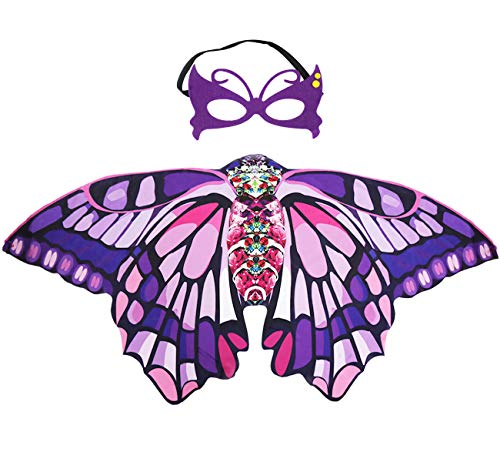 Kids Butterfly Wings Costume Mask for Girls Rainbow Halloween Dress Up Party (Purple Pink)]()