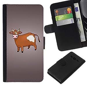 KingStore / Leather Etui en cuir / Samsung Galaxy A3 / Vaca de Brown Agricultura Animal Derechos Dibujo