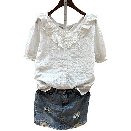 Xmy Blanc sucré frais V-cou manches courtes T-shirts femmes élèves dos shirt vêtements de poupée code sont