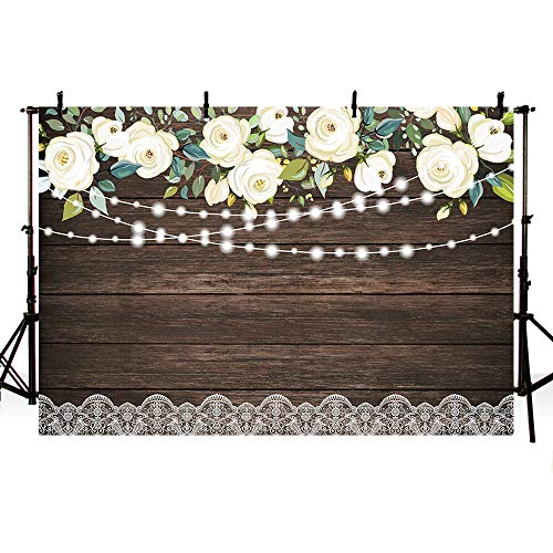 MEHOFOTO Happy Holiday Wood White Flowers Photography Backdrop Floral Rustic Wedding Lace Wooden Board Floor Background Bridal Shower Baby Shower Birthday Party Banner Photo Studio Props 7x5ft -