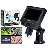 YaeCCC Portable Digital Microscope 3.6MP 600x Sensor Zoom LCD kit with1080P/720P/VGA Stereo Camera Vedio Microscope for QC/Industrial/Collection Inspection Multi Use Smart Microscope