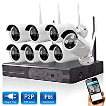 Wetrans 8CH 1080P HDMI NVR with 8pcs 1080P HD Wifi Wireless Smart Indoor Outdoor Home Video Security Camera System Night Vision