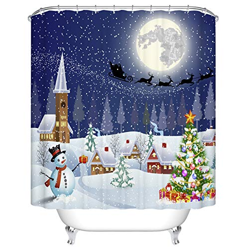 Ormis Christmas Tree and Snowman with Gifbox Pattern Shower Curtain 72X72 inches Waterproof Polyester Fabric Bathroom Fantastic Decorations Bath - Fantastic Patterns