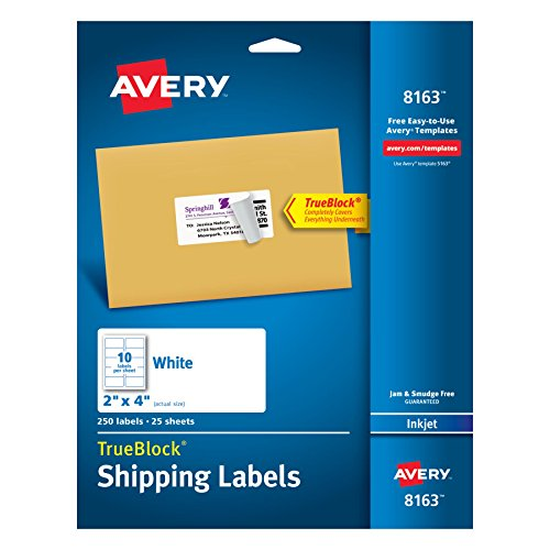 Label Cd Avery - Avery Shipping Labels with TrueBlock Technology, 2 x 4, White, 250/Pack, PK - AVE8163