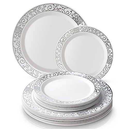 White Wedding Collection - PARTY DISPOSABLE 40 PC DINNERWARE SET | 20 Dinner Plates | 20 Salad/Dessert plates | Heavy Duty Plastic Dishes | Elegant Fine China Look | Upscale Wedding and Dining (Venetian Collection-White/Silver)