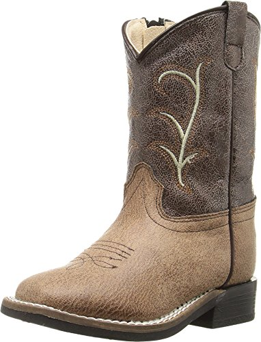 Old West Kids Boots Unisex Square Toe Vintage (Toddler) Tan Boot 4 Toddler (Western Cowboy Vintage Brown Boot)
