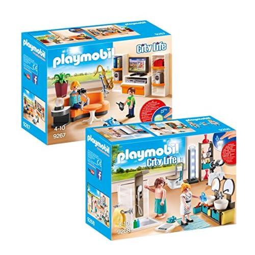 Playmobil Meubles Villa Moderne Set: 9267 Salon Équipé + 9268 Salle de Bain avec Douche à l'Italienne