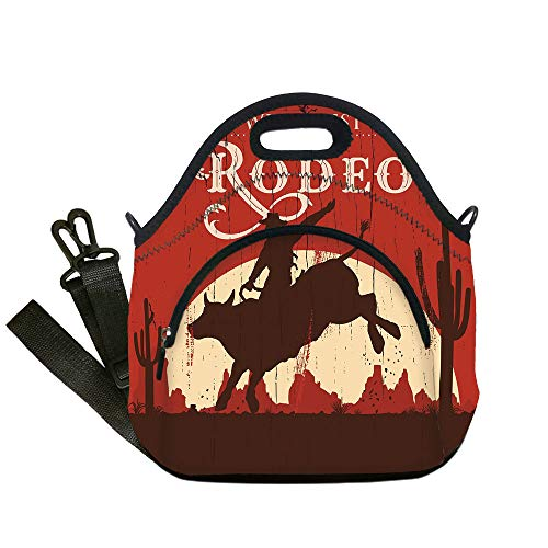 (Insulated Lunch Bag,Neoprene Lunch Tote Bags,Vintage,Rodeo Cowboy Riding Bull Wooden Old Sign Western Wilderness at Sunset Image,Redwood Orange,for Adults and)