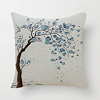 "Lyn Cotton Linen Square Throw Pillow Case Decorative Cushion Cover Pillowcase for Sofa 18 ""X 18 "" Lyn-82"