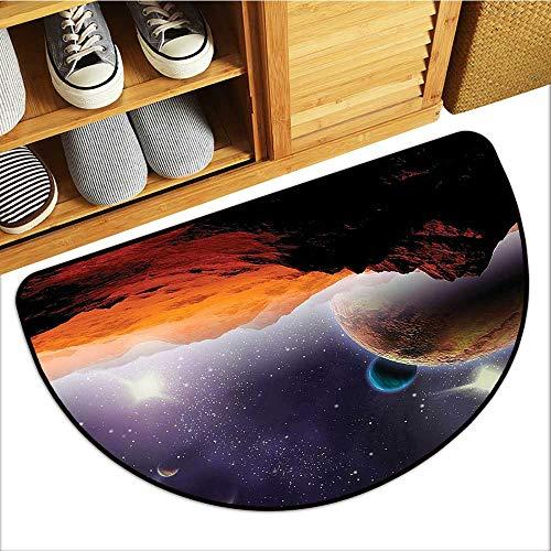 Artistic Print Entry Door Mat Fantasy Solar Sky Nebula Orbit Horiz System Semi-Circular Non-Slip W35xH23 INCH
