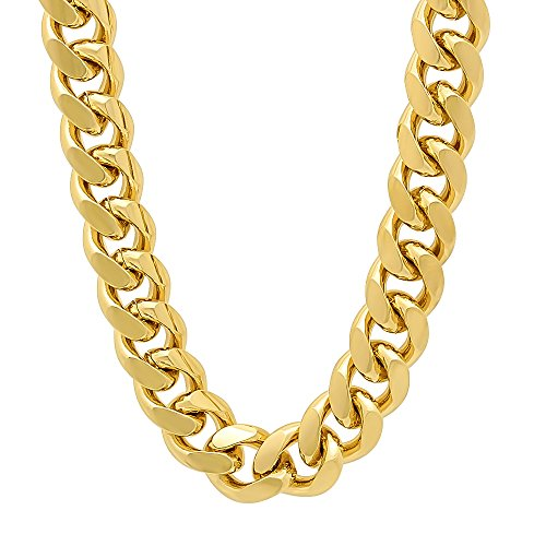 11mm 14k Gold Plated Miami Cuban Link Curb Chain Necklace, 36'' + Microfiber Jewelry Polishing Cloth by The Bling Factory