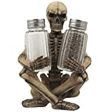 Scary Skeleton Glass Salt and Pepper Shaker Set with Decorative Spice Rack Display Stand Holder Figurine for Spooky Halloween Party Decorations and Skulls and Skeletons Kitchen Decor Table Centerpiece Sculptures As Medieval or Gothic Gifts