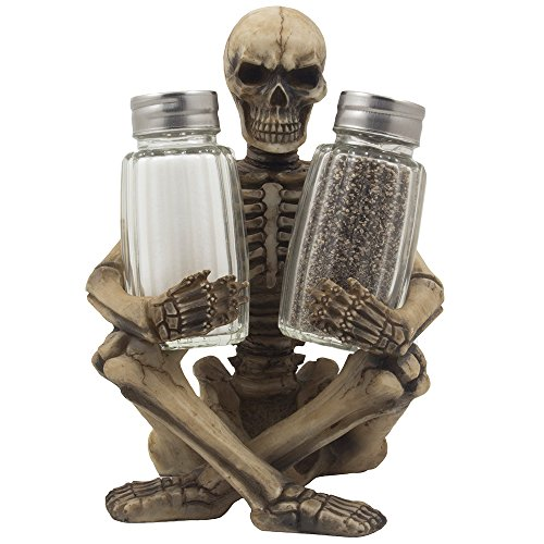 Scary Skeleton Glass Salt and Pepper Shaker Set with Decorative Spice Rack Display Stand Holder Figurine for Spooky Halloween Party Decorations and Skulls & Skeletons Kitchen Decor Table Centerpiece Sculptures As Medieval or Gothic (Skull Halloween Decoration)