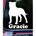 "Minglewood Trading American Staffordshire Terrier w/Custom Name Vinyl Decal Sticker 6"" x 4.25"" Pitbull Pit Bull - - Black 5"