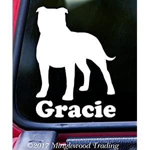 "Minglewood Trading American Staffordshire Terrier w/Custom Name Vinyl Decal Sticker 6"" x 4.25"" Pitbull Pit Bull - - Black 9"
