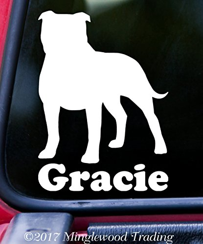 Minglewood Trading AMERICAN STAFFORDSHIRE TERRIER w/Custom Name Vinyl Decal Sticker 6