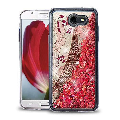 Paris Glitter (Samsung Galaxy J7 Prime / J7 V / J7 Perx / J7 Sky Pro / J7 2017 Case, Flowing Glitter Quicksand with Designer Image, Slim Fit Soft Cover with Screen Protector - Red Eiffel Tower)
