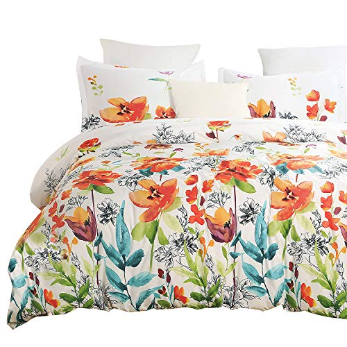 Vaulia Lightweight Soft Microfiber Duvet Cover Set, Print Floral Pattern, White/Orange Color - Queen