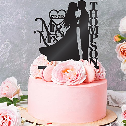 Personalized Wedding Cake Toppers Mr and Mrs Cake Topper - Bride and Groom Cake Toppers Wedding Favor | Wedding Toppers for Cake Black (Groom Cake Top)