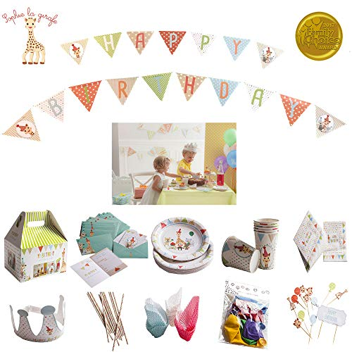 - Sophie La Girafe Kids Birthday Decorations Party Supplies For 12 Children's Paper Goods Jungle Animal Plates Cups Napkins Utensils Invitations Banner Balloons Cake/Cupcake Toppers Crown 110 Piece Kit