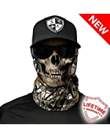 SA CO Official SNOW CAMO SKULL Face Shield, Perfect for All Outdoor Activities, Protects Face Against the Elements