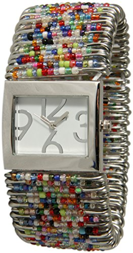 - Safety Pins Watch with Beads and Rectangle Face White Dial (Multi-Color Scramble)