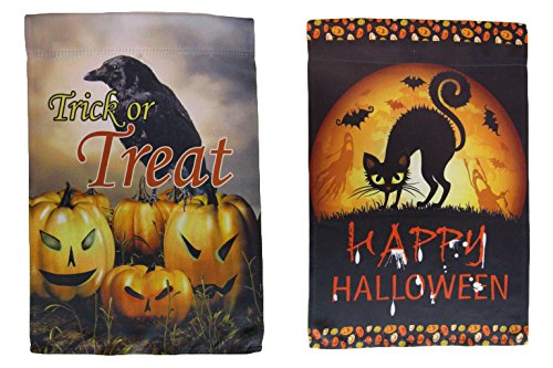 ALBATROS 12 inch x 18 inch Happy Halloween #17 Vertical Sleeve Flag for Garden for Home and Parades, Official Party, All Weather Indoors Outdoors