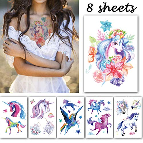 CARGEN® 8 Sheets Waterproof Unicorn Assorted Temporary Tattoo Party Favors Supplies Arm Hand Tattoos Body Art Sticker Sets for Party Decorations