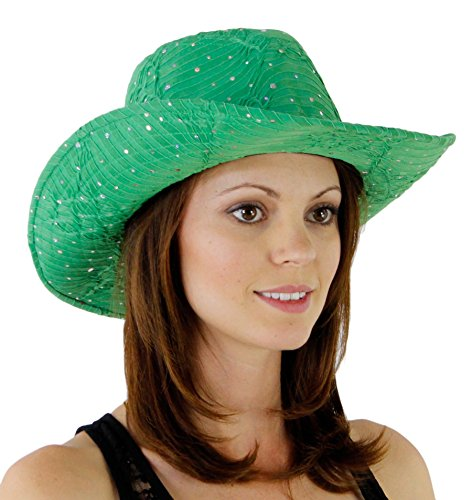 Glitter Sequin Trim Cowboy Hat, Green