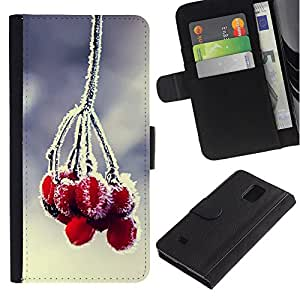 KingStore / Leather Etui en cuir / Samsung Galaxy Note 4 IV / Planta Naturaleza Forrest Flor 84